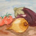 Zwiebel,Tomaten und Auberginen