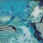 abstraktes Bild in tuerkis und blau