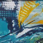abstraktes Bild in tuerkis und blau mit gelb