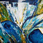 Acrylbild in blau und gelb abstrakt