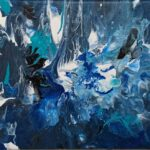 Pouring in blauen Farben
