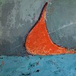 abstraktes Bild Orange trifft grau blau