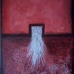 abstraktes Acrylbild in weinrot und silber