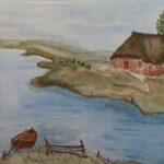 Aquarellbild Reetdachhaus am Fluss