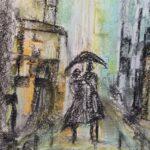 Paar spaziert im Regen durch die Stadt