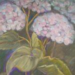 Hortensien in Pastell gemalt
