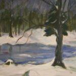 Wintersee in Acryl gemalt
