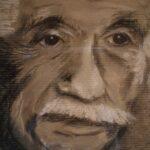 Einstein Zeichnung auf Packpapier