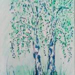 Birken gruen und blau