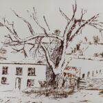 Haus und Baum mit dem Spachtel gemalt