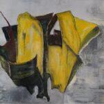 abstraktes Bild in gelb und grau